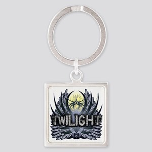 Twilight Blue Wings Square Keychain