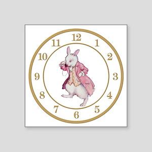 """ALICE_WHITE RABBIT 8 CLOCK Square Sticker 3"""" x 3"""""""