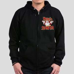 Here's Santa Zip Hoodie (dark)