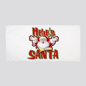 Here's Santa Beach Towel