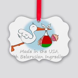 stork baby belarus white 2 Picture Ornament