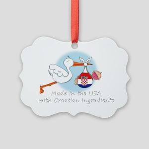 stork baby croatia white 2 Picture Ornament