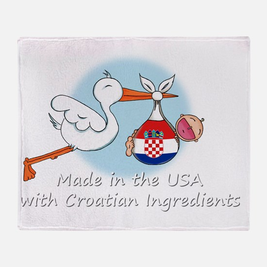 stork baby croatia white 2 Throw Blanket