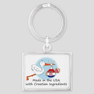 stork baby croatia 2 Landscape Keychain