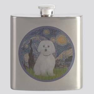 Starry Night - Maltese (B) - round Flask