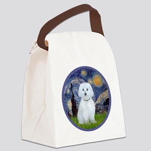 Starry Night - Maltese (B) - roun Canvas Lunch Bag