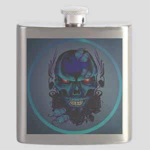 Butterflies and Roses Black Skull-Circle Flask
