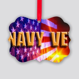 NAVY VET Picture Ornament
