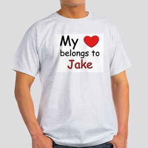 My heart belongs to jake Ash Grey T-Shirt