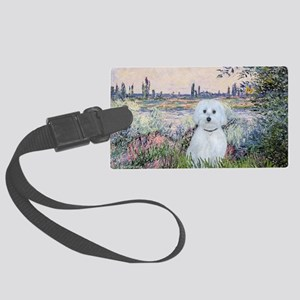 By the Seine - Maltese (B) Large Luggage Tag