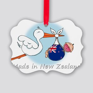 stork baby NZ white Picture Ornament