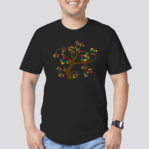 Puzzled Tree of Life Men's Fitted T-Shirt (dark)