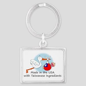 stork baby taiwan 2 Landscape Keychain