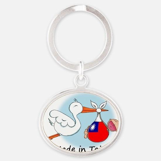 stork baby taiwan Oval Keychain