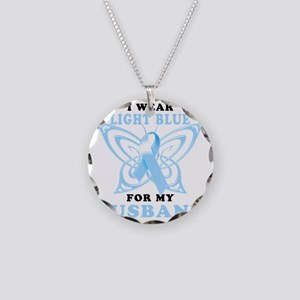 I Wear Light Blue for my Hus Necklace Circle Charm