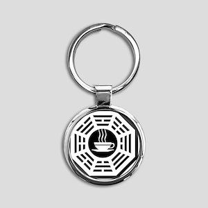 Coffee Ceramic Round Keychain