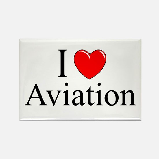 """I Love (Heart) Aviation"" Rectangle Magnet"