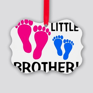 imthelittlebrother_pinkfeet_bluef Picture Ornament