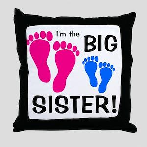 imthebigsister_pinkfeet_bluefeet Throw Pillow