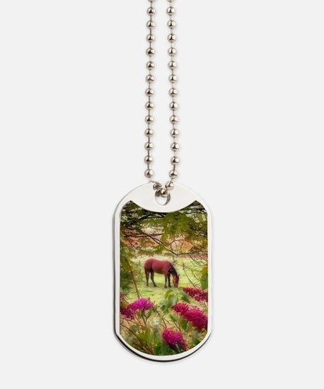 horse in summer Dog Tags