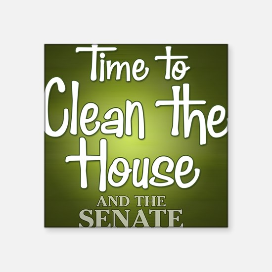 """buttons-0405_cleanhouse Square Sticker 3"""" x 3"""""""