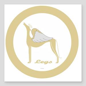 "LEGS ANGEL GREY gold rim Square Car Magnet 3"" x 3"""