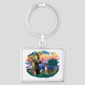 The Saint - Boxer (brindle-natu Landscape Keychain