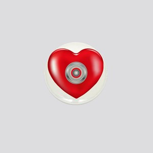 Safety Hearts Red Mini Button