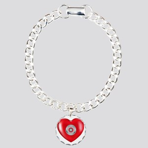 Safety Hearts Red Charm Bracelet, One Charm