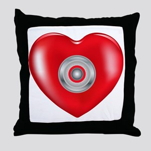 Safety Hearts Red Throw Pillow