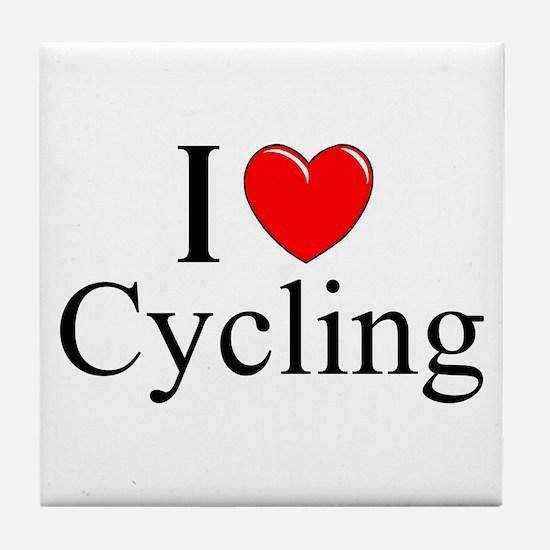 """I Love (Heart) Cycling"" Tile Coaster"