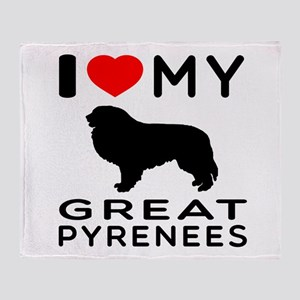 I Love My Great Pyrenees Throw Blanket