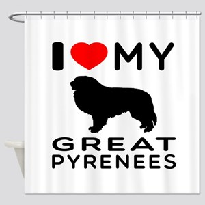 I Love My Great Pyrenees Shower Curtain