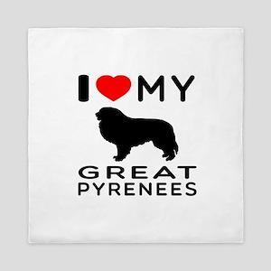 I Love My Great Pyrenees Queen Duvet