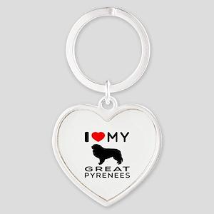 I Love My Great Pyrenees Heart Keychain