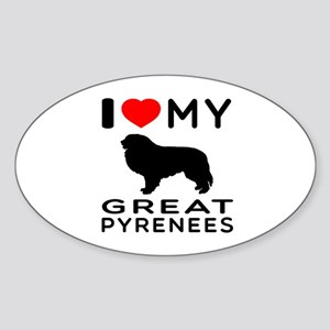 I Love My Great Pyrenees Sticker (Oval)