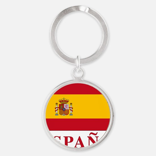 2-Flag_of_Spain3 Round Keychain