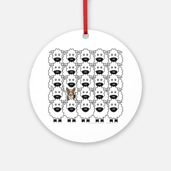 Corgi in the Sheep Round Ornament