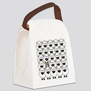 Corgi in the Sheep Canvas Lunch Bag