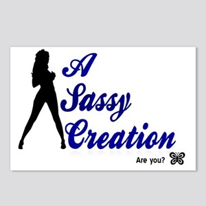 2-White Sassy Logo Postcards (Package of 8)