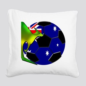 3-kangaroosoccer Square Canvas Pillow