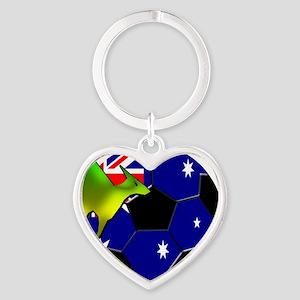 2-kangaroosoccer Heart Keychain