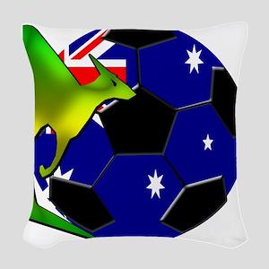 5-kangaroosoccer Woven Throw Pillow