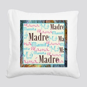 Spanish_Pink_Turq_Brn+Framed_ Square Canvas Pillow