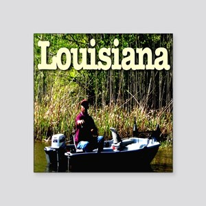 "Louisiana_fishing_c2010Terr Square Sticker 3"" x 3"""