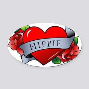 Hippie Oval Car Magnet