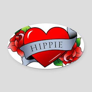 Hippie Oval Car Magnet