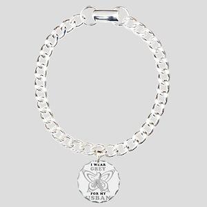 I Wear Grey for my Husba Charm Bracelet, One Charm