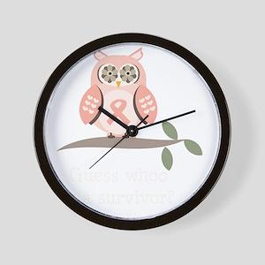GuessWhooSurvivorPinkRibbonDkT Wall Clock