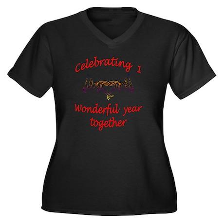 celebrating Women's Plus Size Dark V-Neck T-Shirt